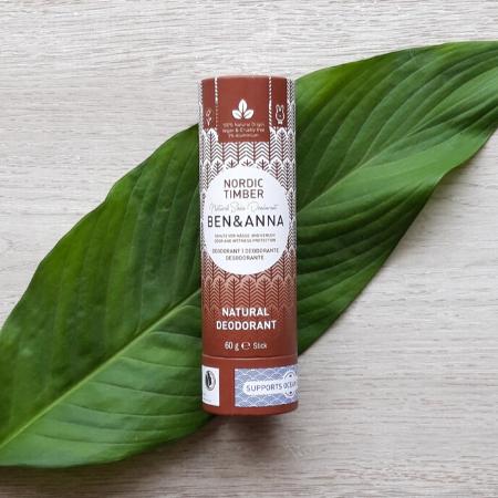 Natural deodorant in cardboard tube