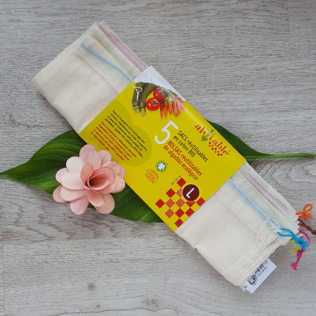 Pack of 5 reusable cotton bags for fruit and veg
