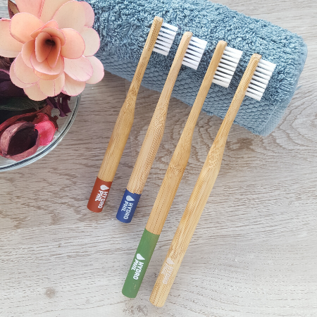 Collection of 4 bamboo toothbrushes