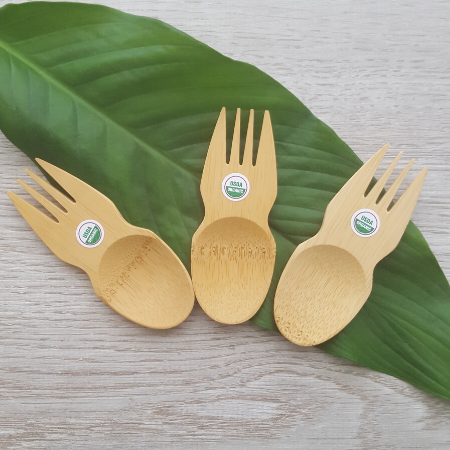Three small bamboo sporks