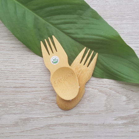Two small bamboo sporks