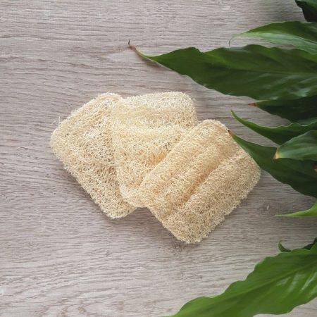 luffa soap dish natural three